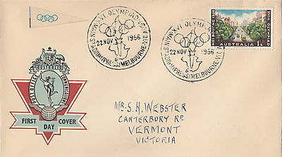 Olympic Games 1/- Australia 1956 Hermes on generic FDC commemorative postmarks
