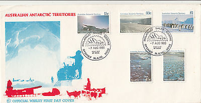 Stamps AAT Antarctic scenery set of 5 stamps WCS Wesley FDC unaddressed