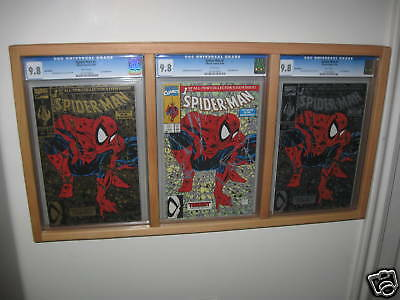 4 triple cgc graded comic book frame display lot holds 3 books each 7