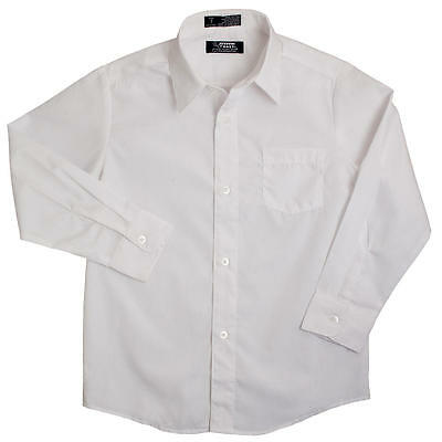 Boys french toast white broadcloth button down long sleeve dress shirt 55%cotton