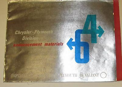 1964 Chrysler Plymouth Imper. Showroom Announcement Dealer Album Brochure wt2508