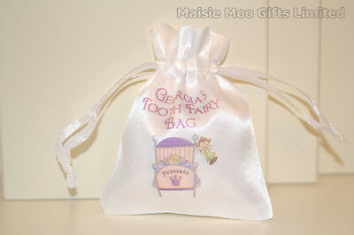 Personalised Tooth Fairy Princess Drawstring Satin Pouch Bag Girls Pink Blue