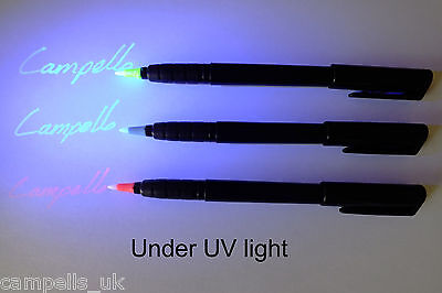 Disappearing Permanent Invisible Ink/Security UV Pen (pink, blue or yellow ink)