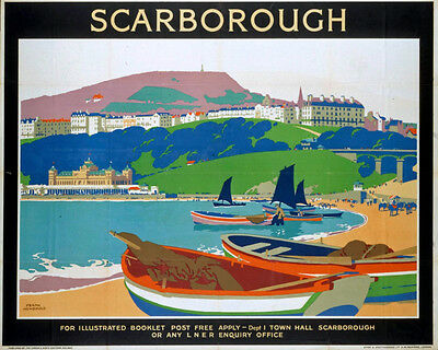 Vintage Rail travel railway poster  A4 RE PRINT Scarborough