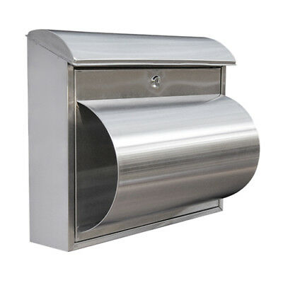 MB26 Stainless Steel Letterbox - A4 sized Modern Mailbox Letter Box Key Lock