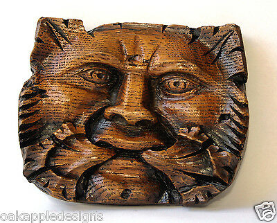Green Man Reproduction Medieval Misericord Carving Hand Made Gothic Pagan Gift