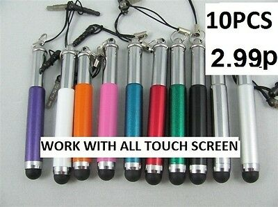 10 x Retractable Stylus Pen  FOR IPHONE 5 4 4S IPAD 1,2,3,Samsung GALAXY Tab