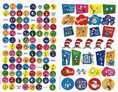 DR SEUSS Character Stickers 2 Sheets! Cat in the Hat Reward Thing One and Two