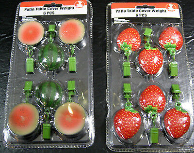 6 Pc. Set Patio Table Weights Strawberriy or Watermelon Keeps Tablcloth in Place