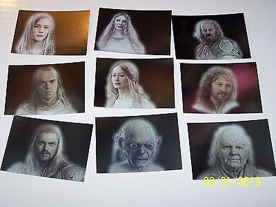 2008 LORD OF THE RINGS MASTERPIECES Series 2 Silver Foil Insert Set NM 9 Cards