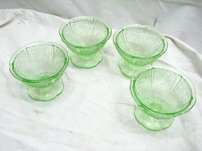 4 Jeannette Cherry Blossom Green Depression Glass Sherbet Cups Bowls