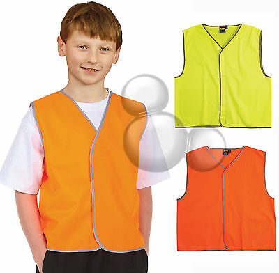 Kids Hi Vis Safety Vest Size 4 6 8 10 12 14 Yellow Orange Bike New!