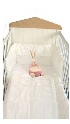 Deluxe New White Or Pink  Broderie Anglais Swinging Crib Quilt & Bumper 2Ps Set