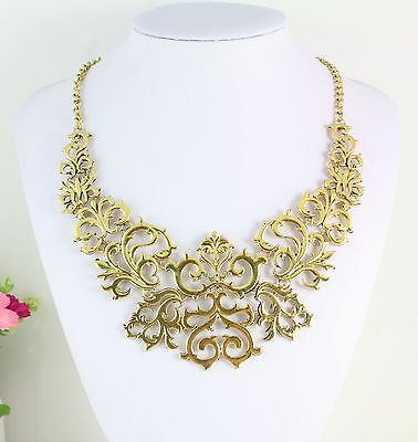 New Design Lady Gold Plated Metal Alloy Hollow Out Lace Flower Choker Necklace