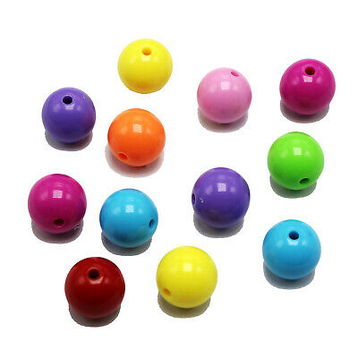 """500 Mixed Bubblegum Candy Color Acrylic Round Beads 6mm(0.24"""") Smooth Ball"""