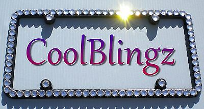 BIG CLEAR CRYSTAL Rhinestone Sparkle Bling License Plate (Black) Frame and Caps