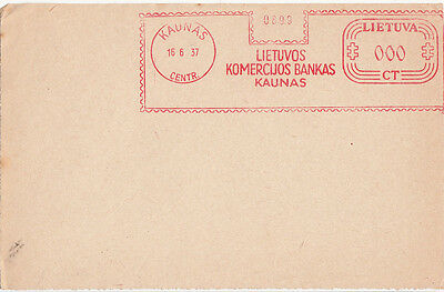 Postmark Lithuania meter slogan TRIAL 1937 KAUNAS KOMERCUOS Specimen 0 value