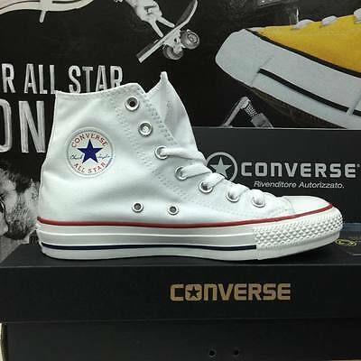Scarpe Converse All Star 2017 Tela Canvas Bianche White Alte  uomo donna unisex