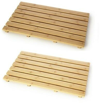 Natural Wood Bamboo Wooden Duck Board Rectangular Bathroom Bath Shower Mat New