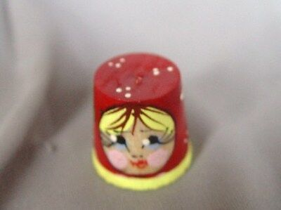Russian Hand Painted Babushka Wooden Thimble