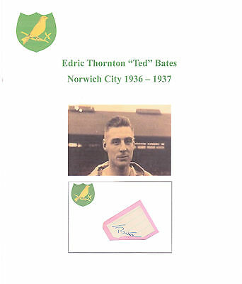Ted Bates Norwich City 1936-1937 Rare Original Hand Signed Cutting/Card Good