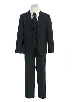 Boys BLACK suit Black Tuxedo wedding page boy suit (5 piece), Sz 000 – 20 *14*