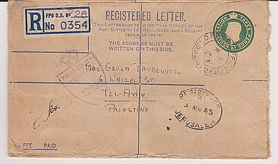 Wwii Postal Stationery Registered Cover Great Britain  Palestine 1945 Censorship