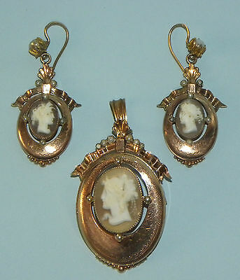 Fine Antique Victorian Lady´s Rolled Gold Cameo Portrait Brooch Pendant Earrings