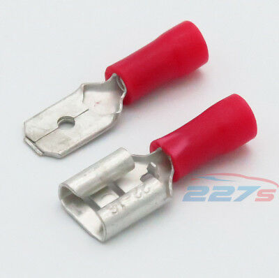 100x Red Semi Insulated Spade Electrical Crimp Connectors- Mixed Male & Female