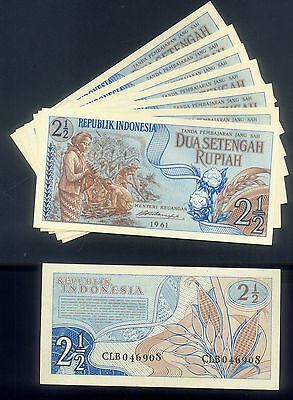 100 UNC BANDED CONSECUTIVE INDONESIA TWO & a HALF ( 2 1/2 ) RUPIAH P# 77 of 1961