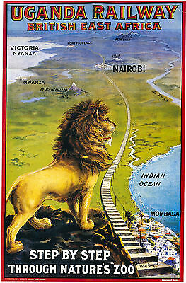 Vintage Rail travel advertising poster  A4 RE PRINT Uganda Railway