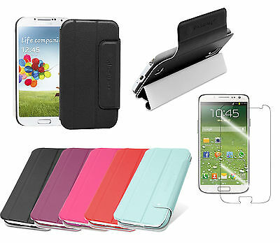 Wallet Stand Leather Cover Case for Samsung Galaxy S4 IV i9500 +Screen Protector