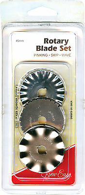 Sew Easy 45mm Rotary Cutter Blade Set Pinking, Skip And Wave ER4100 Free Post!