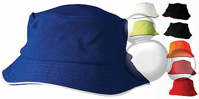 Bucket Hat Contrast Trim Kids & Adults School Hi Vis Cap New!