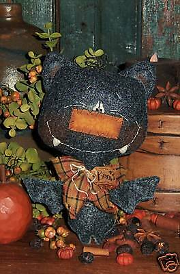Primitive Doll Halloween Black Bat Ornie Paper Pattern #352
