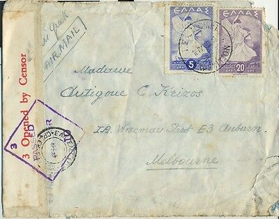 Stamps Greece 1945 cover double censored sent airmail to Australia via Egypt