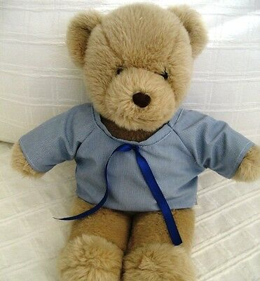 Teddy Bear Clothes, Handmade Dean Blue and White Finestriped School Style Shirt