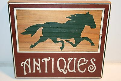 """WOW Nice """"Antiques"""" Horse Country Wooden Sign Wall Hanging Plaque"""