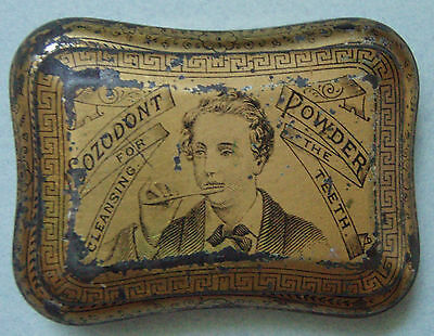 Old Tiny Dental Sozodont Powder Advertising Tin Great Graphic & Coloring