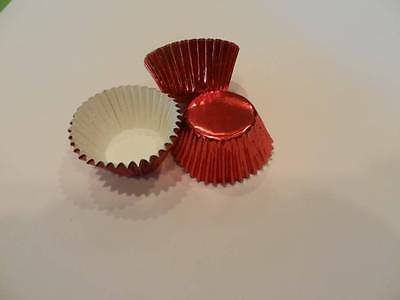 48 Mini Red Foil Cupcake Liners Cups Cake Cupcake Candy Cookie Decorations