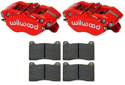 """Wilwood Dynapro Red Brake Calipers & Pads,0.81"""",1.38,racing,drag,road,street Rod"""