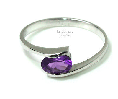 Birthstone Mother's Ring Sterling Stackable Amethyst February Gemstone .925