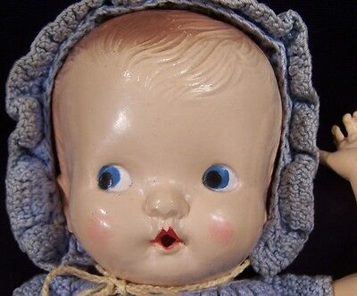 """Circa 1957 Irwin USA Celluloid Doll Marked NON-INFLAM 11"""" Drink Wet Orig Outfit"""