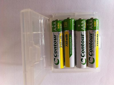 4 x AAA 750 mAh NiMH Rechargeable Batteries in FREE case -