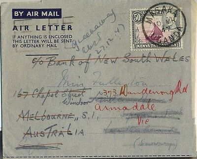 Stamp KUT 50c KGV1 issue on airletter sent MASAKA 1947 to England re-directed