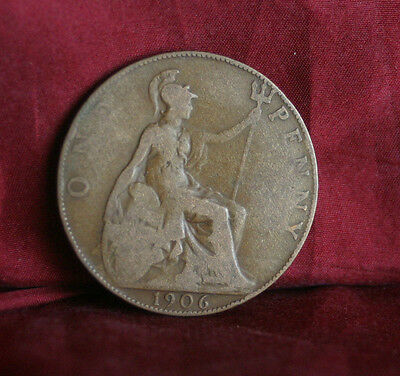 1906 Great Britain 1 One Penny Bronze World Coin Britania Seated UK England