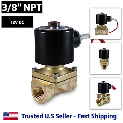 """3/8"""" 12V DC Electric Brass Solenoid Valve Water Gas Air 12 VDC - FREE SHIPPING"""