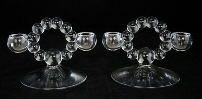 """Pair Of Imperial Glass Co. """"CANDLEWICK"""" Clear Glass Candle Holder Candelabras 5"""""""