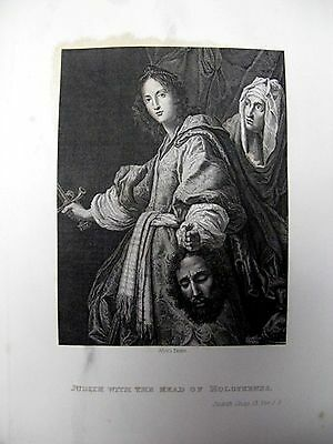 1838 Book Plate Print Pictoral History Of Bible By Allori Judith With Head