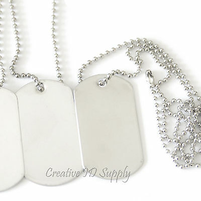 """DOG TAG CHAINS 100ea 30/""""  T-304 STAINLESS STEEL #3 = 3//32/"""" or 2.4MM GENUINE USA"""